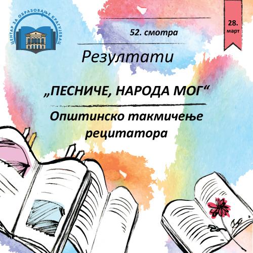 """Одржана Општинска смотра рецитатора """"Песниче народа мог"""""""